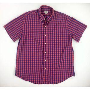 J Crew Mens XL Blue Red Plaid Shirt Short Sleeve